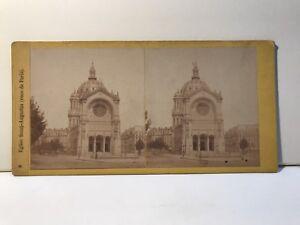 Parigi Eglise st. Augustine Foto Stereo Vintage Albumina