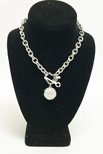 GUESS SILVER TONE,CHAIN LINK,HEART,KEY,CRYSTAL,CHARM PENDANT TAG TOGGLE NECKLACE