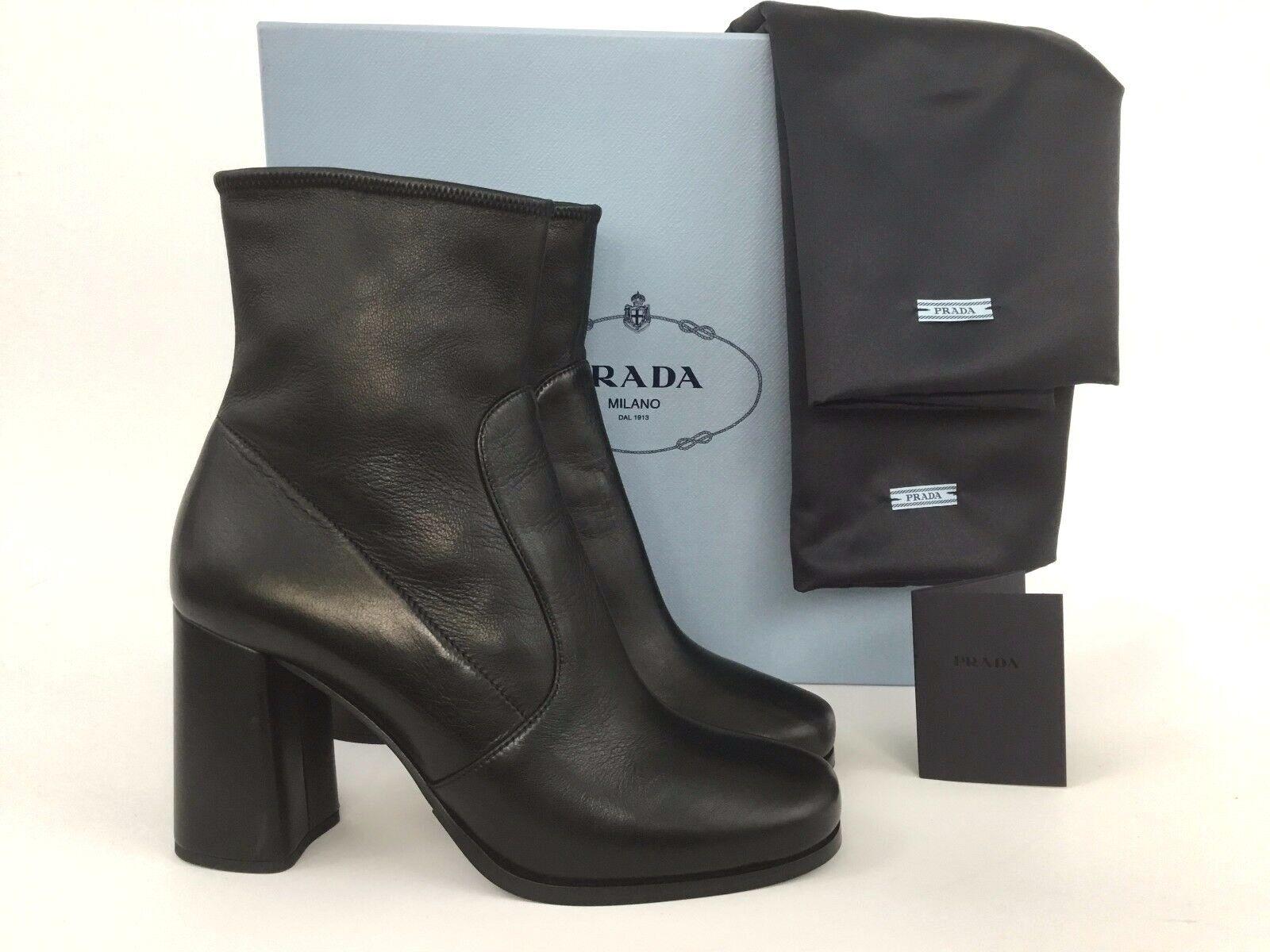 PRADA Black Leather Block Heel Side Zip Stretch Bootie 40 10