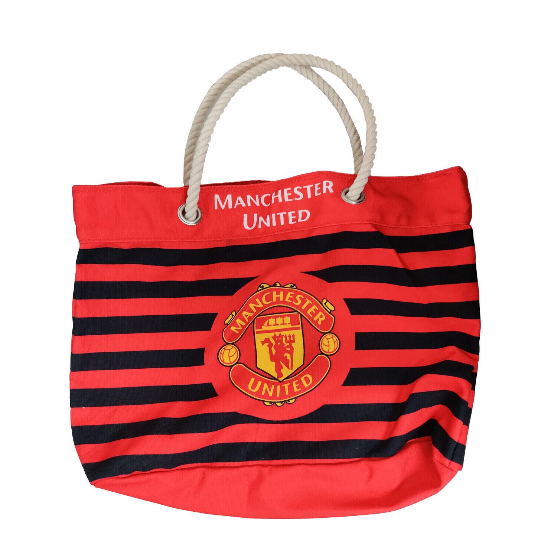 Manchester United FC Big Logo Striped Carry Bag
