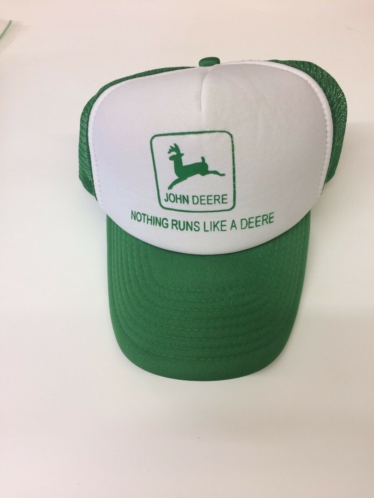 Vintage John runs Deere Snap Back trucker Hat Cap nothing runs John like a Deere 5ceb15