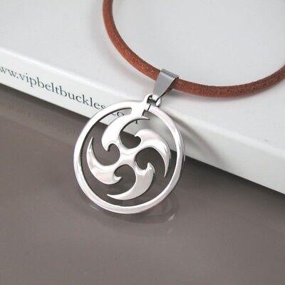 "18/"" Black Leather Necklace Silver Stainless Steel Japanese Ninja Tribal Pendant"
