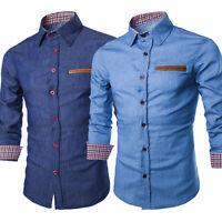US Luxury Men Casual Stylish Slim Fit Long Sleeve Casual Formal Dress Shirt Tops