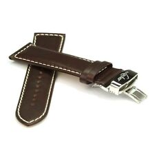 Laco / Lacher Uhrarmband Leder braun - Faltschließe Edelstahl poliert - 24 mm