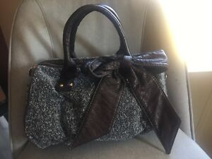 Image Is Loading Deux Lux Handbag Gray Tweed Fabric Bowler