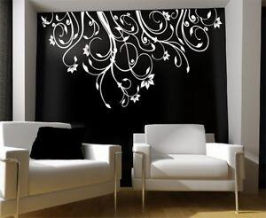 blumenranke wandtattoo blumen ranken wandtattoo f r wohnzimmer bad bl ten deko ebay. Black Bedroom Furniture Sets. Home Design Ideas