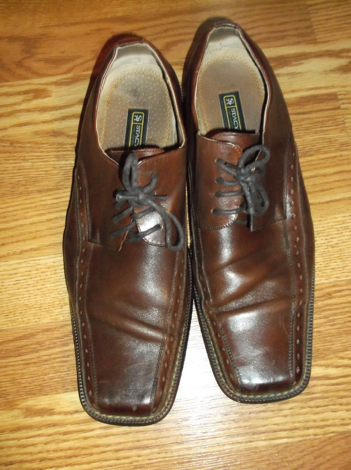 MEN'S STACY ADAMS BROWN LACE UP LEATHER SHOES SIZE 12 M