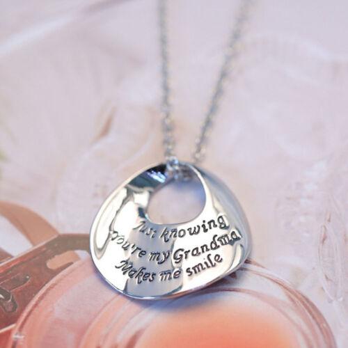 Mères Jour Cadeau Maman Nana Grand-mère argent famille Choker Collier Pendentif