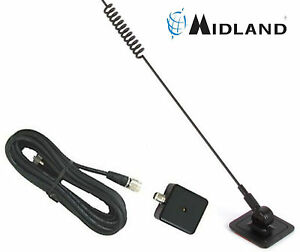 18-258 MIDLAND Through Glass Mount Pre-Tuned Land Mobile CB Antenna