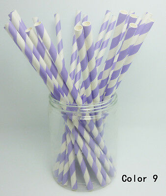 25 PCS Diagonal Striped Paper Drinking Straws For Wedding Birthday Party Color 9