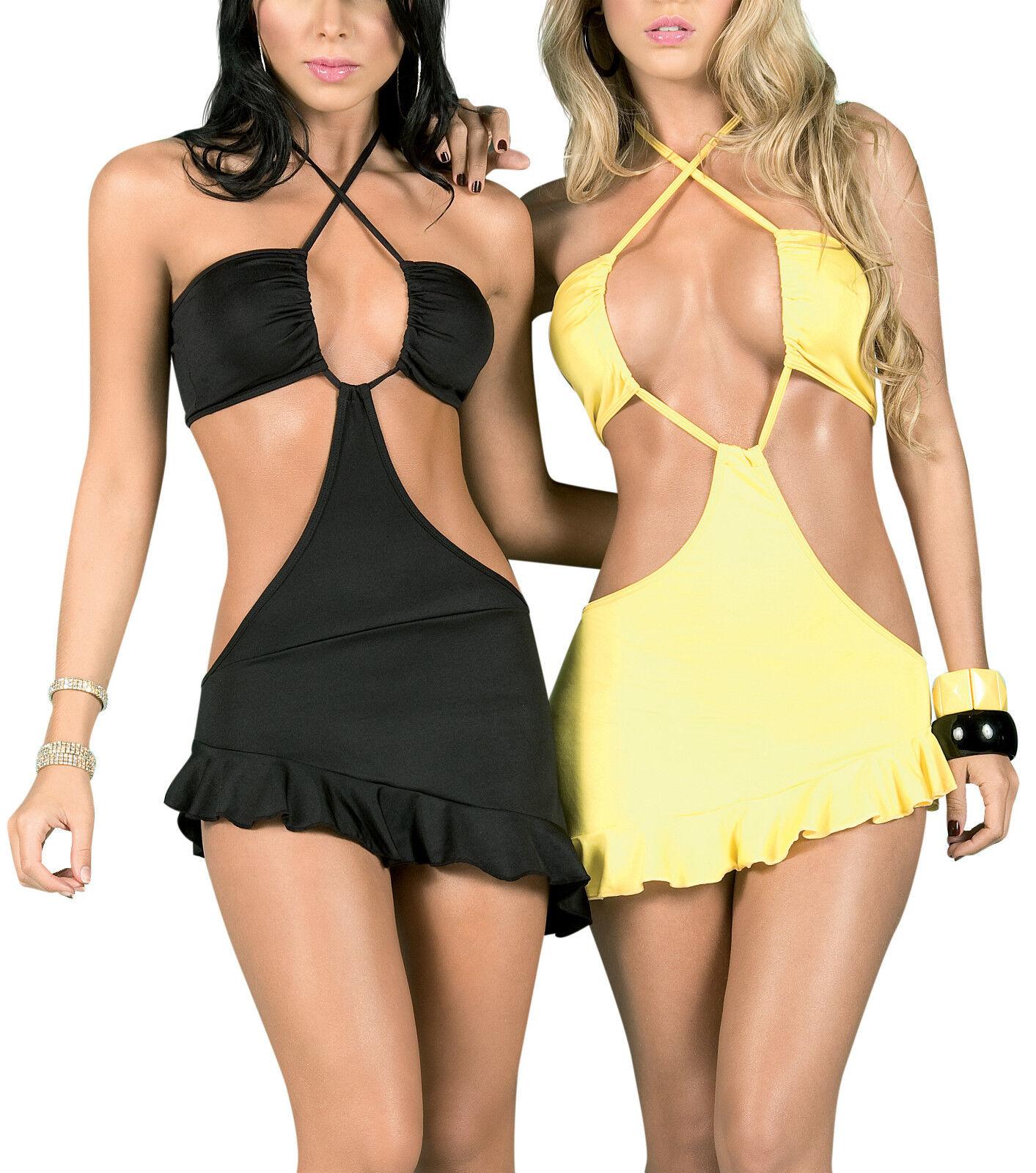 Nwt 4024 Sexy Schwarz Gelb Hot Clubwear Tanz Exotischer Rabe Minikleid Top L XL