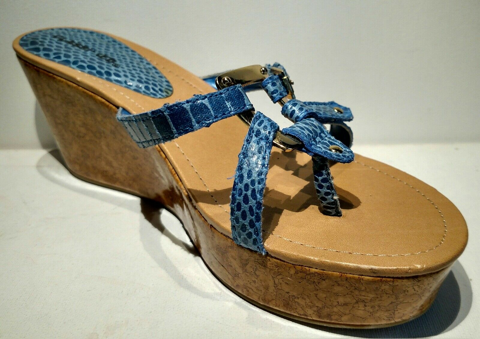 CLASSIFIED Sz8m blue straps snake cork sking wedge sandal 3inch cork straps snake heel b83ab8