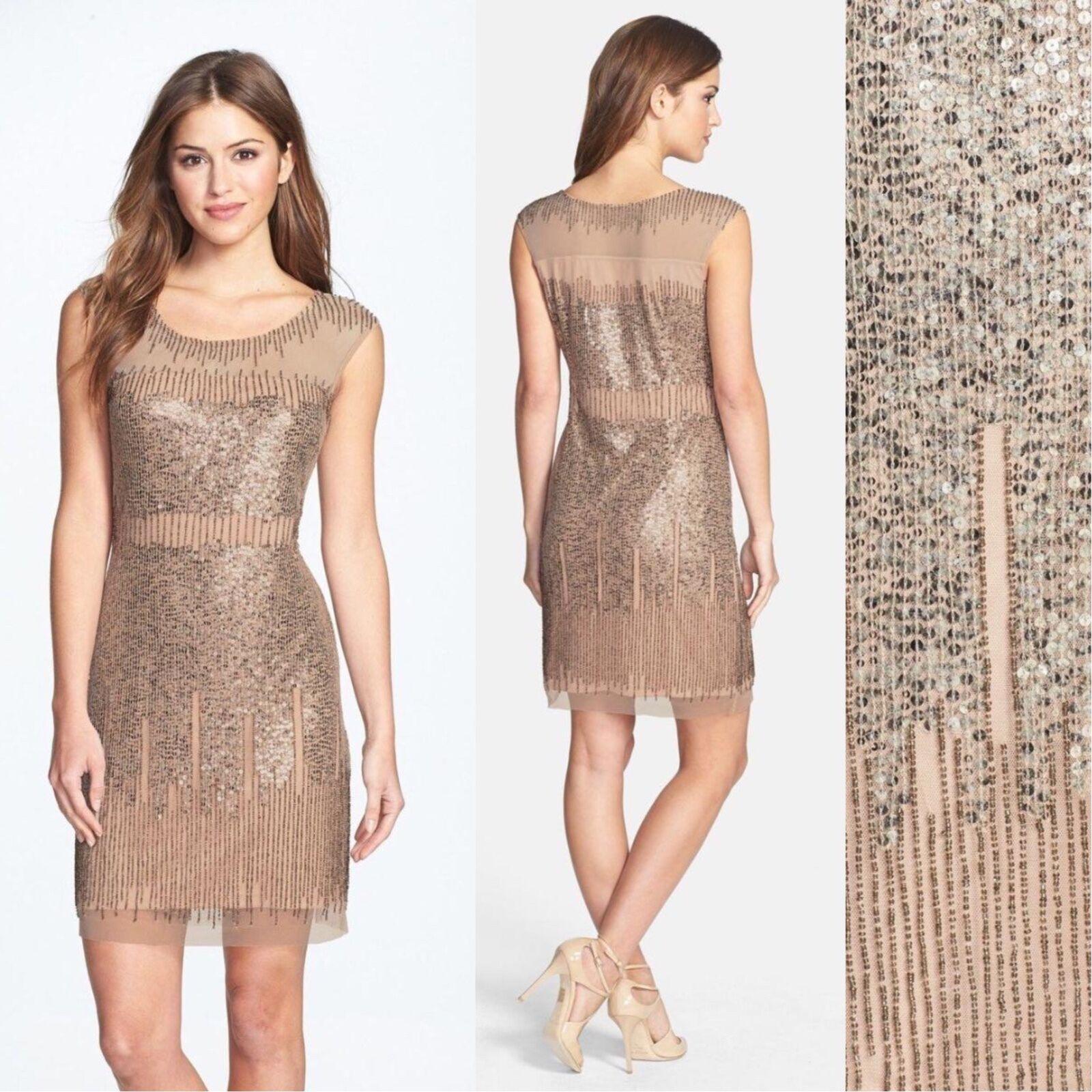 NWT Adrianna Papell Illusion Yoke Beaded Sheath Dress Taupe [ 6 8 14 ]  AP31