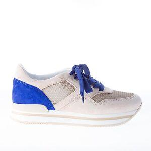 HOGAN scarpe donna women shoes Sneaker H222 camoscio beige pi blu con tessuto