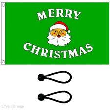 Christmas. Green Santa Flag 5 x 3 ft Poles Or Windsocks.With FREE BALL TIES