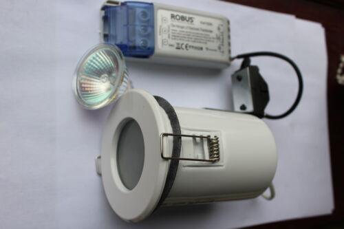 Alto AL8868 pack 5 x fire rated IP65 blanc brillant//verre opale downlight lv kits