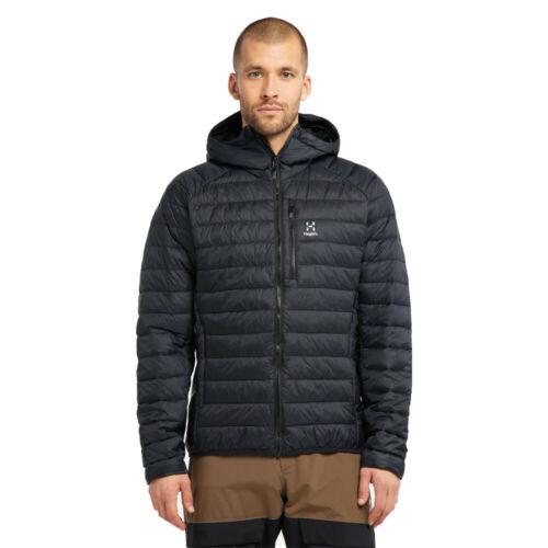 Haglofs Mens Spire Mimic Hooded Jacket Top Black Sports Outdoors Full Zip Warm