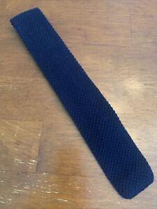 Vtg-1970s-70s-bronzini-knit-100-Wool-Navy-Sock-Tie-Square-knit-48-2-5