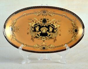 10-034-Euro-Porcelain-Medusa-Fine-Bone-China-Oval-Platter-Gold-Serving-Tray