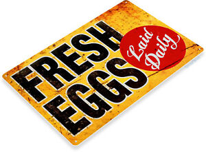 TIN-SIGN-Fresh-Eggs-Ld-Rustic-Chicken-Coop-Sign-Kitchen-Cottage-Farm-A127