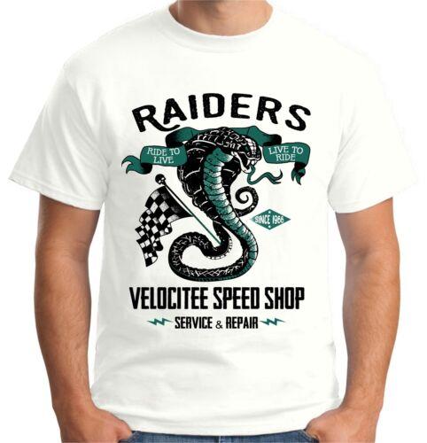 Velocitee Mens Premium T-Shirt Raiders Riders Biker Cobra Racer Mechanic V125