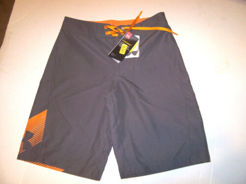 NEW Under Armour solid gray orange boys swim suit trunk board shorts 25 27 28 29