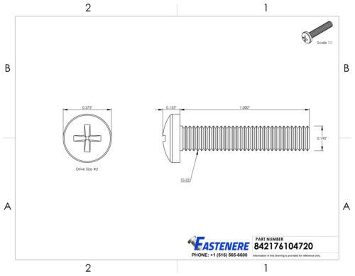 "10-32 x 1/"" Pan Head Machine Screws Phillips Drive Stainless Steel Qty 50"