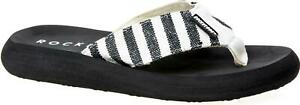 Rocket-Dog-SPOTLIGHT-OLYMPUS-Ladies-Slip-On-Canvas-Flip-Flops-Black-Stripe