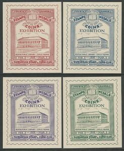 USA-1935-Boston-4th-Stamps-Medals-Coins-Exhibition-Poster-Cinderella-Set-VF-HR