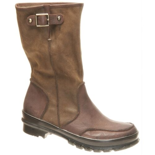 OTBT DEER LODGE DARK BROWN BROWN BROWN LEATHER BOOTS 6.5  ZIP UP CALF COMFORT FASHION fb08de