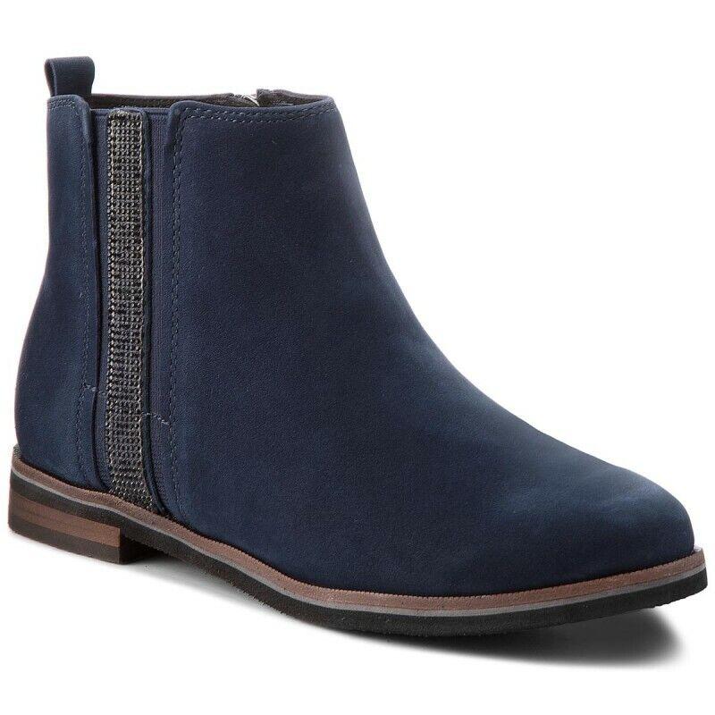 Caprice navy nubuc 830 Bottine bottes chaussures femmes Cuir bleu 9-25307-21