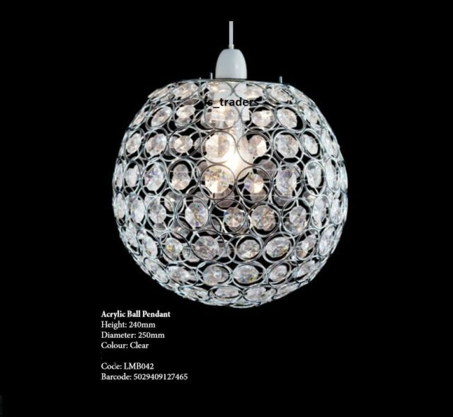 Modern Chrome Globe Ceiling Light Shade With Acrylic Crystal Effect ...