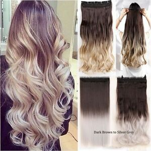 Ombre Real New Women Clip In Hair Extensions 3 4 Full Head Brown ... 9b66190f42