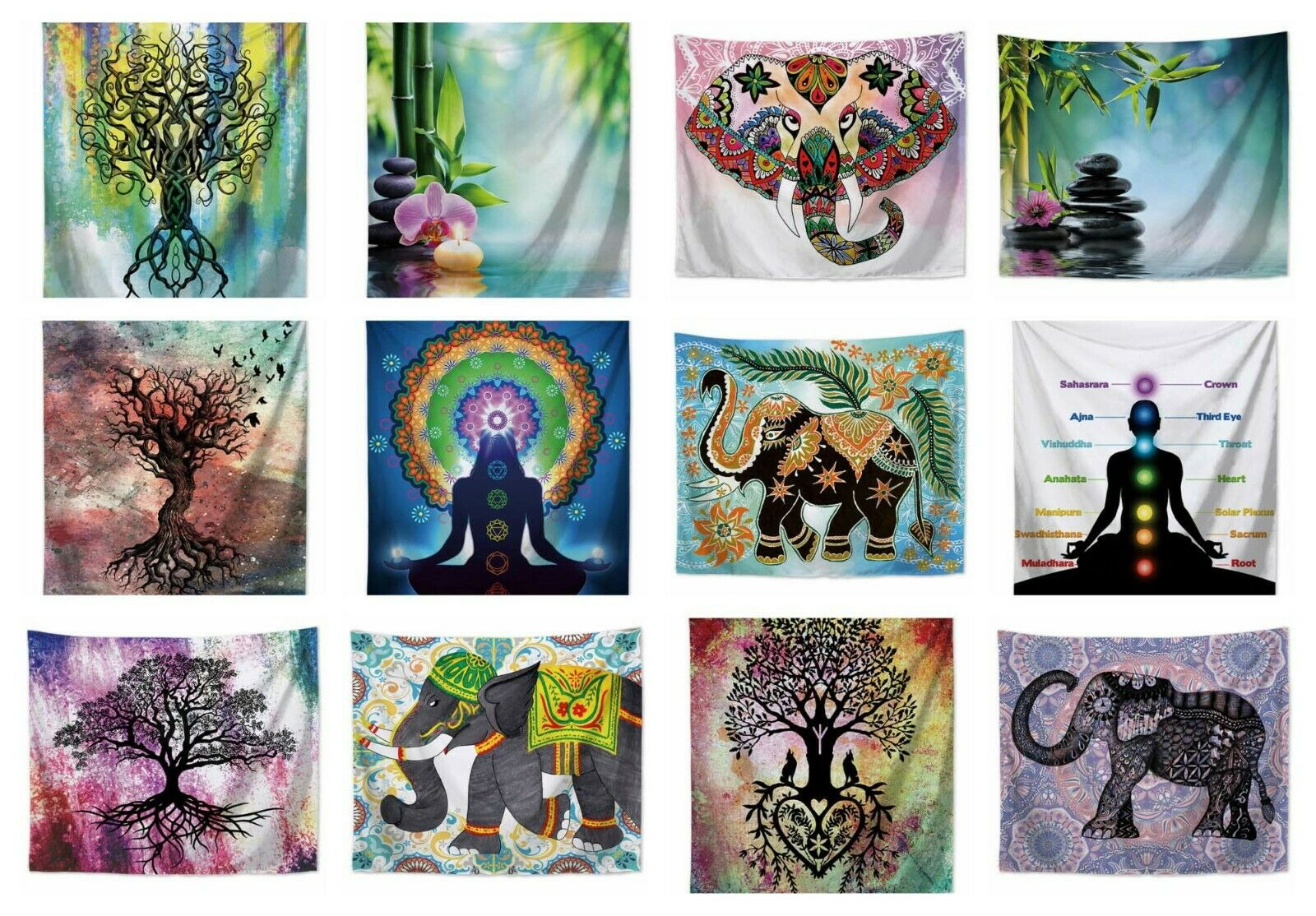 US SELLER - 10 pieces male tapestry elephant tree of life Chakra wall hanging