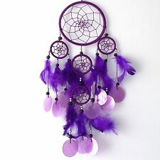 NEW BRIGHT PURPLE SHELL AND FEATHER DREAM CATCHER NATIVE AMERICAN HANGING MOBILE