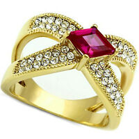Ladies Ruby Red D Shape Stone 18kt Gold Ep Anniversary Ring