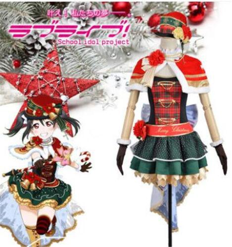 2018 Love Live Nico Yazawa Christmas Awaking Dress Cosplay Costume Cape Socks