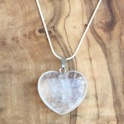 """Clear Quartz Crystal Angel Pendant 25mm with 20/"""" Silver Necklace Healing Focus"""