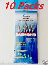 10 Packs Size #2 Sabiki Bait Rigs 6 RED Hooks Offshore Saltwater Lures - 496