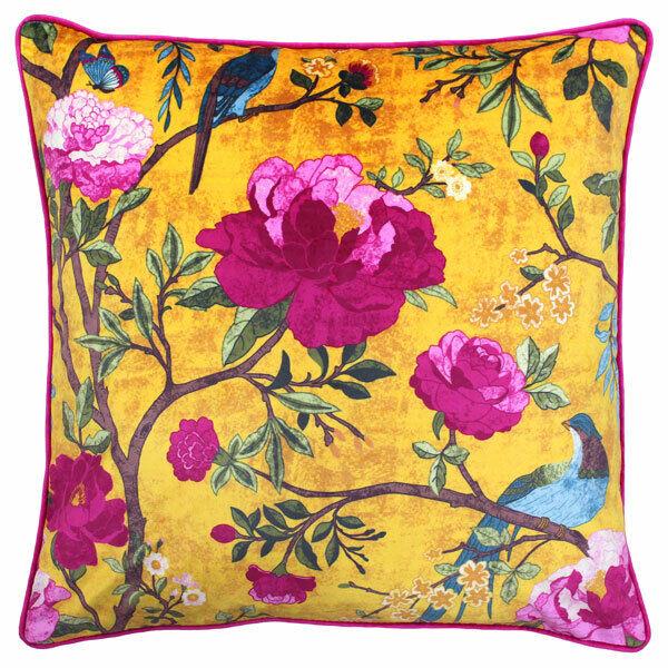 Riva Paoletti Chinoiserie Faux Velvet Cushion Cover, Gold, 50 x 50 Cm