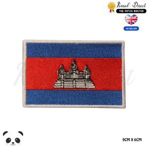 Cambodia-National-Flag-Embroidered-Iron-On-Sew-On-Patch-Badge-For-Clothes-etc