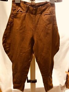 Womens-Vintage-Equestrian-Jodhpurs-Riding-Breeches-Pants-Brown-SM-1920s-Estate