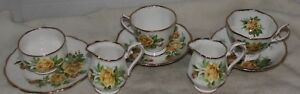 2 Sets ROYAL ALBERT Yellow Tea Rose Snack Hostess Tennis Appetizers Cup Saucers