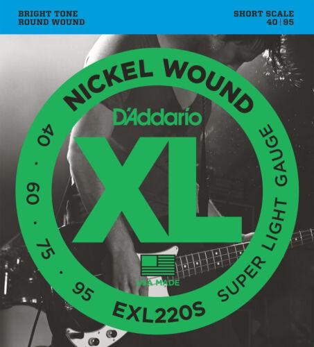 40-95 Short  S D/'Addario EXL220S Nickel Wound Bass Guitar Strings Super Light