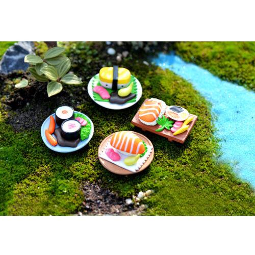 4pcs Miniature Statue Resin Sushi Bonsai DIY Craft Fairy Moss Landscape
