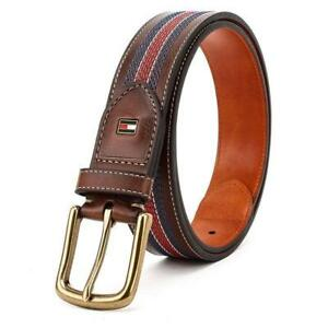 New Tommy Hilfiger Men's 35mm Center Stripe Stitch Leather Brown Belt 11TL02X057