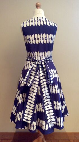 8 katoenen Dress Maat Eight Navy White Phase Blue Leaf riem patroon wqAXfPH