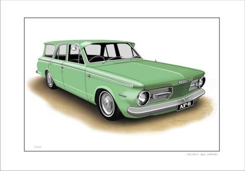 5 CAR COLOURS VALIANT AP6  SAFARI WAGON LIMITED EDITION CAR DRAWING  PRINT