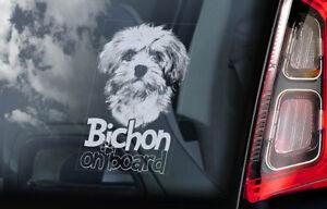 Bichon-a-Bordo-Coche-Ventana-Pegatina-Havana-Frise-Perro-Signo-Regalo-V01