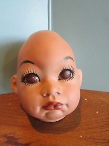 """Vintage BISQUE baby DOLL HEAD 4"""" TALLpainted body parts val shelton"""